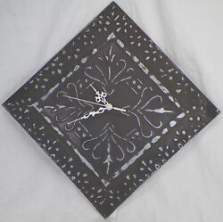 METAL CEILING TILE DISTRESSED WALL CLOCK W/ SECOND HAND SQUARE OR DIAMOND -K5