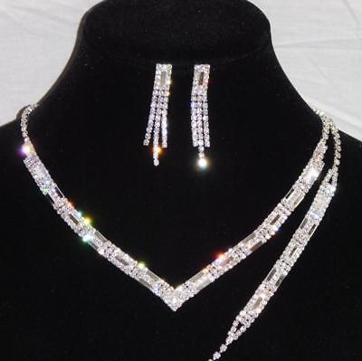 3PC Bridal Set Silver Diamond Accent Necklace, Earrings and Bracelet /16104 Diamond Accent Bracelet And Necklace