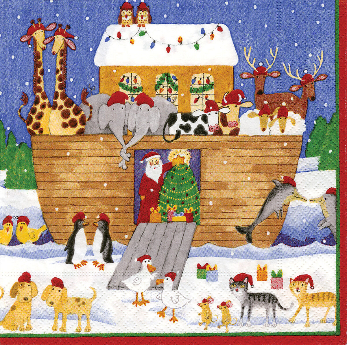 Glittering Tree Christmas Caspari Paper Lunch Napkins 33cm sq 20 pack