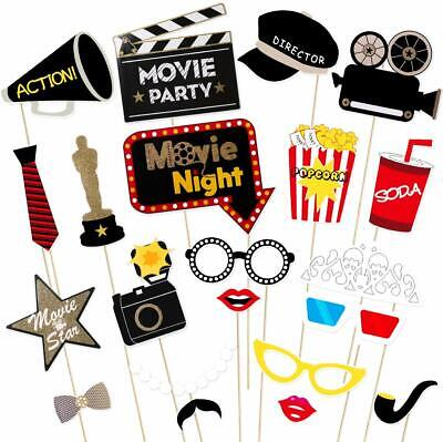 Hollywood Theme Party Decorations (Pack of 21 Oscar Hollywood Party Theme Photo Booth Props Kit Movie Night)