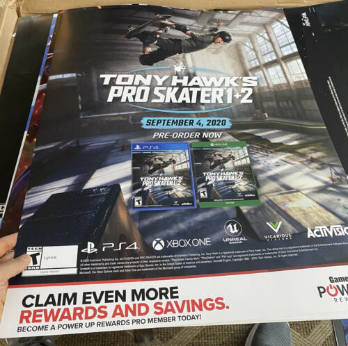 Tony Hawk Pro Skater 1,2 Promo Store display sign 24x28