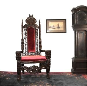 Big Mahogany Throne Lion Chair King Queen Prince Princess Antique Red Velvet