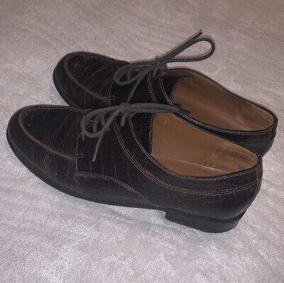 Lauren Ralph LRL Leather Alligator Brown Oxford Shoes Woman's SZ 9.5 Lagenlook