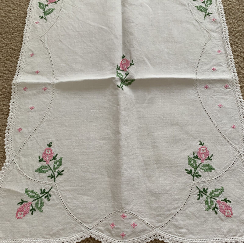 """Vintage Cross Stitched Embroidered Pink Rose Buds White Linen Runner 40 1/4"""""""