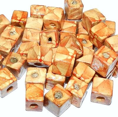 W285f Brown & Red Patterned Flower Design Wood 10mm Cube Beads 40/pkg