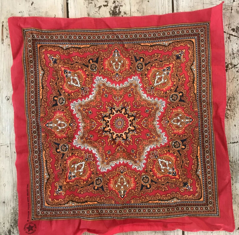 Vintage ? Ornate Bandana Red Orange Blue 100% Cotton USA Scarf Handkerchief