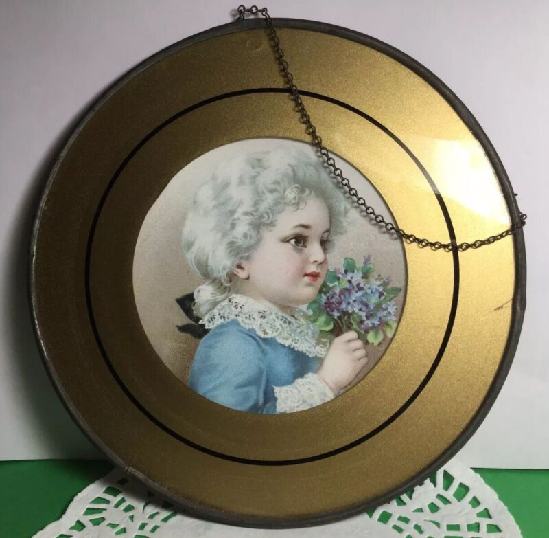 ANTIQUE ROUND CHIMNEY FLUE COVER PRETTY GIRL HOLDING LILAC FLOWERS TIN FRAME