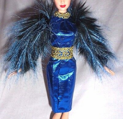 COCKTAIL C ~ DRESS ~ BARBIE DOLL BLUE FAUX FUR SLEEVE EFFIE TRINKET HUNGER GAMES