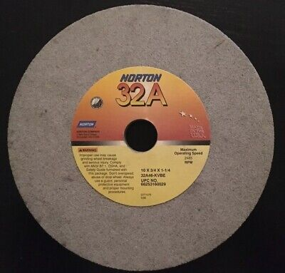 Qty. 1 Norton Grinding Wheel 10 X 34 X 1-14 32a46-kvbe Nos 1.25 0.75 Rpm 2485