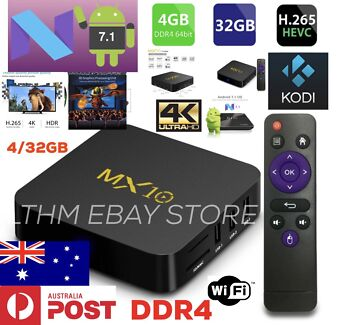 NEW! MX10 DDR4 ANDROID 7 TV BOX 4/32GB KODI 17.6 5G WIFI NETFLIX 4K