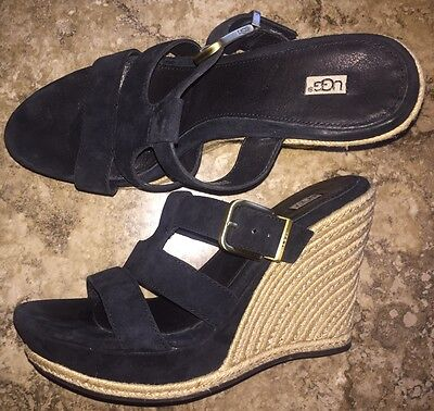 "NEW Ugg Hedy Black Suede Sandal Shoe Slip On 9.5 NWB Braided Jute Wedge 4.5"""