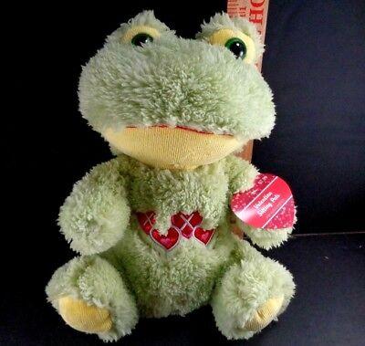 Valentine Day Big Eyed Frog Green XOXO Heart Plush Stuffed Animal Toy NEW 11