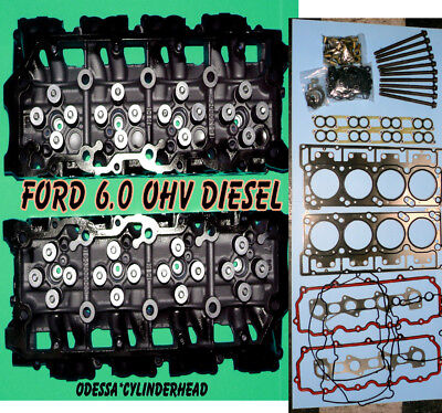 NEW 2 FORD 6.0 TURBO DIESEL F350 TRUCK CYLINDER HEADS 18MM CAST#080 BOLT&GASKET