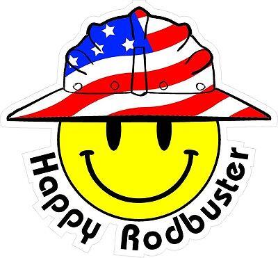 3 - Happy Rod Buster Smiley Usa Hardhat Oilfield Helmet Toolbox Sticker H891
