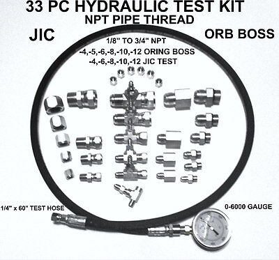 Hydraulic 33 Pc Fast Test Kit 18 To 34 Npt Jic Orb Tractor Forklift Tester