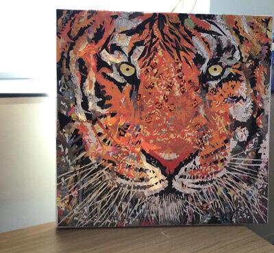 40x40cm TIGER TIGER BURNING BRIGHT ORIGINAL ARTWORK PAPER COLLAGE ON CANVAS