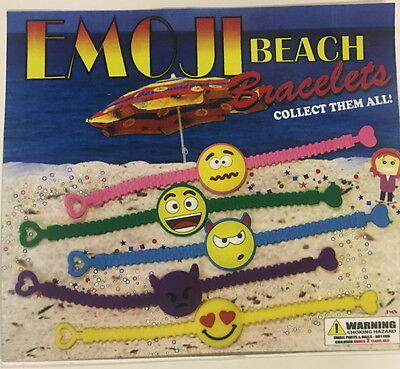 12 EMOJI EMOTICON BEACH BRACELETS PARTY FAVORS GOODY BAGS TREAT BOXES POOL TOY