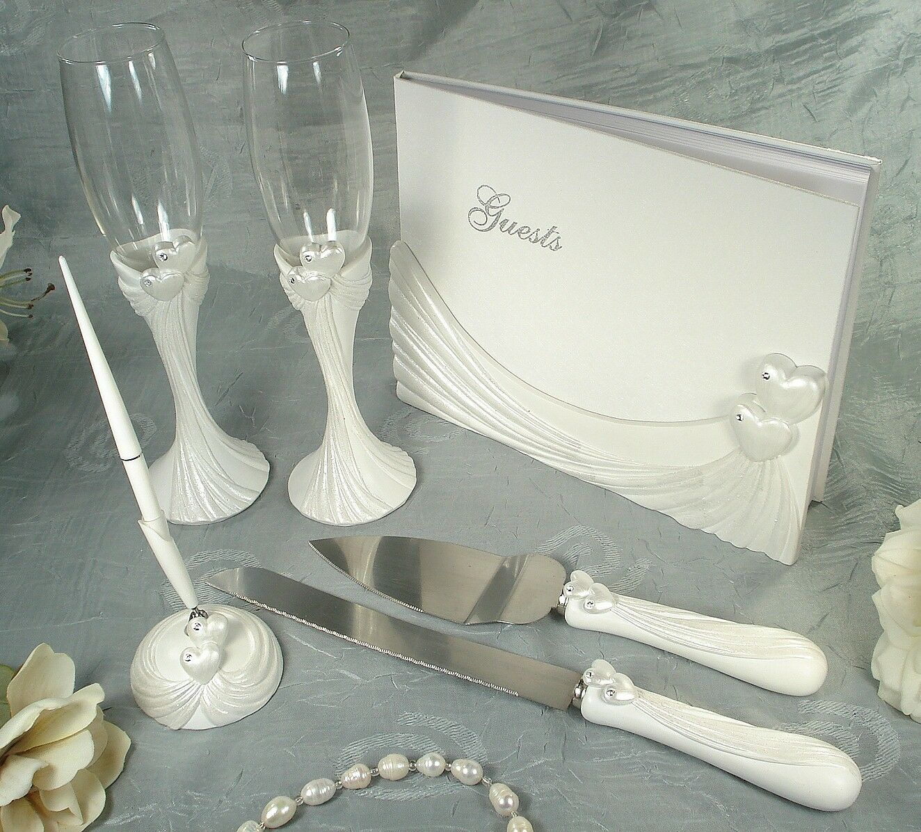 D'Lusso Guest Book, Toasting Flutes, Cake Set And Pen Set...