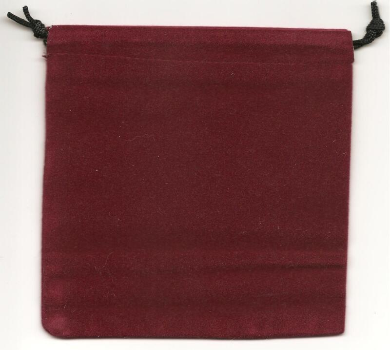 """Jewelry Pouches Velour/Velvet type Pouch-Lot of 5 Burgundy Color-Size: 5 1/4"""" Sq"""