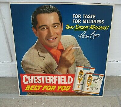 Large Old Chesterfield Cigarette cardboard sign-  Perry Como movie signer actor