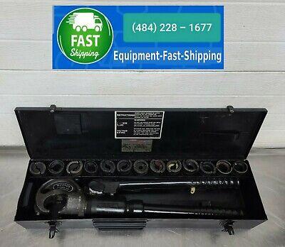 Burndy Hypress Y35 12-ton Hydraulic Crimper Crimping Tool W 13 Die Sets In Case