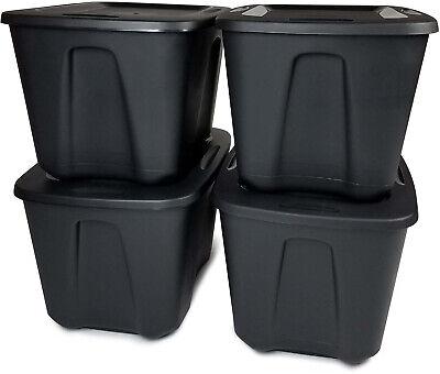 Stackable Storage Organizer - 8 PLASTIC STORAGE CONTAINER BOX Stackable Organizer Bin Containers Lid 18 Gallon