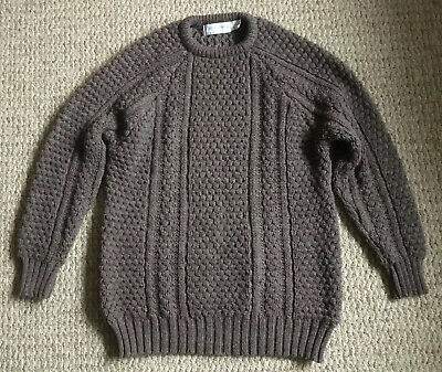 Patrick Malik Fisherman Cable Knit Sweater_Brown_Donegal Ireland_ExC_SHIPS FREE