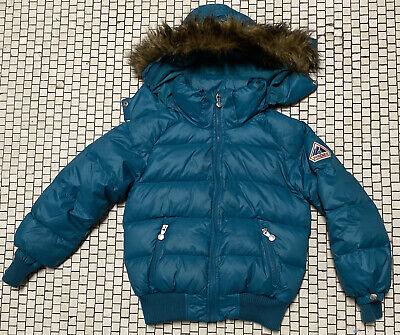 Vtg Pyrenex Kids Turquoise down Mystic jacket puffer W Hoodie Sz 10 Euc Rare Htf