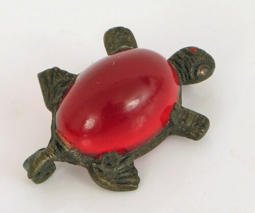 ANTIQUE CHINESE EXPORT SILVER PLATED CHERRY RED AMBER TURTLE BROOCH
