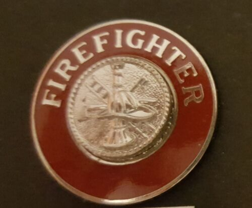Firefighter Red with Silver Rhodium Fire Collar Brass Chain of Command  11/16 6