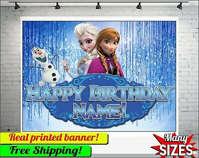 Customized Banner For Birthday (Frozen Backdrop Personalized Happy Birthday Party Vinyl Banner Custom)