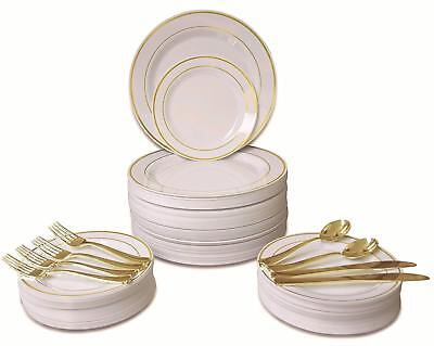 360 PCS/60 GUEST wedding disposable plastic plate and silverware set