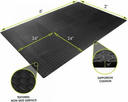 GYM RUBBER FLOORING Tiles Garage Home Fitness Exercise 24 SQFT Workout Floor Mat