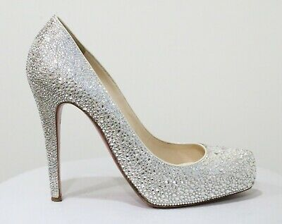Christian Louboutin Rolando White Strass Wedding Shoes Pumps EU 38.5 US 8