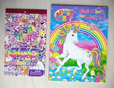 Lisa Frank Giant Coloring Book Art Adult Therapy Unicorn + BONUS 600 stickers  - Adult Sticker Book