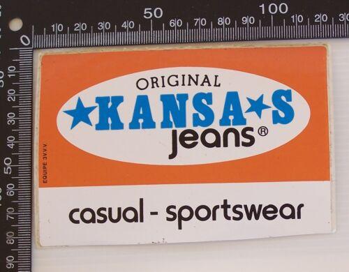 VINTAGE ORIGINAL KANSAS JEANS CASUAL SPORTSWEAR ADVERTISING VINYL PROMO STICKER