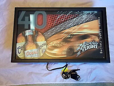 Vintage 1996 COORS LIGHT RACING  LIGHTED BEER SIGN Nice Collectible