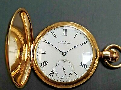 Waltham 10ct Gold Filled Gentleman's Full Hunter Pocket Watch Good Working Order