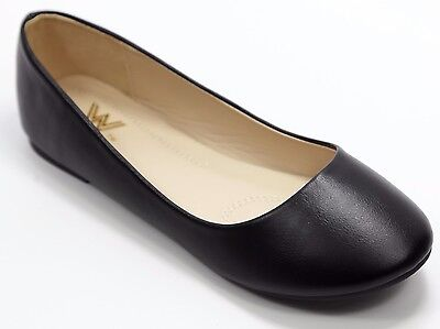 Leather Ballet Flat Shoes (New Women Casual Faux Leather Ballet Flat Shoes Size 6 - 10, (Black)