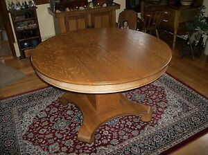 SALE-Vintage-Antique-4-Ft-Round-Oak-Pedestal-Table-W-Leaf-Excellent-Condition