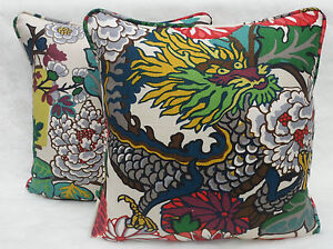 Schumacher Fabric ~ 1 pair of Cushion Covers ~Chiang Mai Dragon,  Alabaster 20
