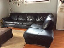 Black leather Harvey Norman lounge Corrimal Wollongong Area Preview