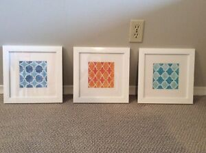 3 White Frames with pictures