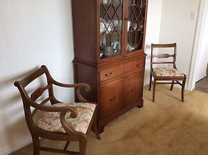 Dinningroom suite, 6 chairs, china cabinet, and linens