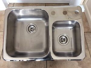 Stainless Steel Double Sink dim 18 1/4x26 3/4 inch