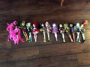 12 monster high dolls with house