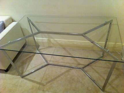 Glass and chrome rectangle dining table Albert Park Port Phillip Preview