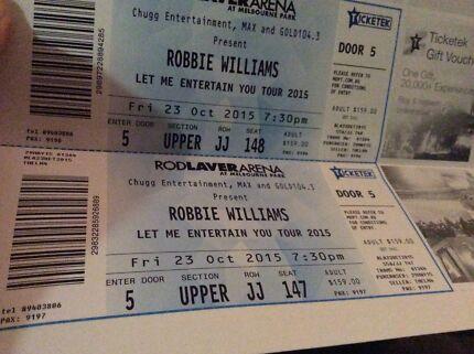 2 x Robbie William tickets Melbourne Melbourne CBD Melbourne City Preview