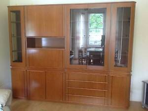 Large Timber and Glass 4 Section Buffet Wall Unit - Italian Style Balmain Leichhardt Area Preview