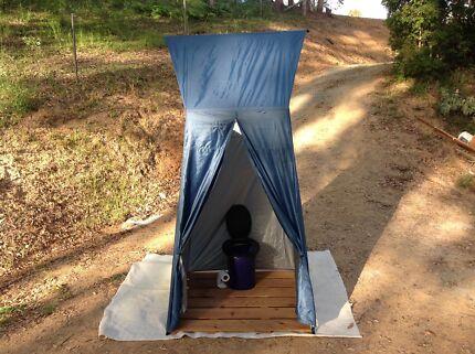 Camping gear, shower tent, sand pegs, porta potti etc
